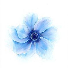 Blue flower watercolor floral print, from SRorickArt on Etsy