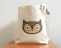 Owl canvas tote bag. Cute and adorable. Sturdy 100% 10oz. cotton canvas.