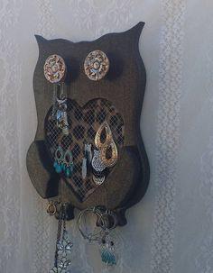 Owl OOAK Owls Beautiful Brown Bling Owl by ApronStringsOwlLady
