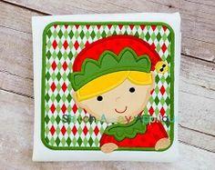 Elf Boy Box Applique - 4 Sizes! | Christmas | Machine Embroidery Designs | SWAKembroidery.com Stitch Away Applique