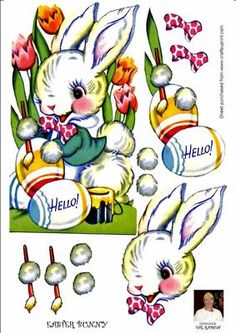 EASTER BUNNY on Craftsuprint designed by Val Ramon - A LOVELY EASTER BUNNY PAINTING EASTER EGGS FOR YOU - Now available for download!