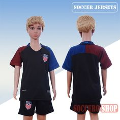Newest Cool USA Black 2016-2017 Away Kids Soccer Jersey Thailand Customised