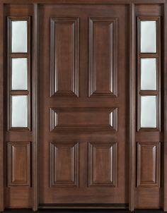 Classic Series Wood Entry Door, Single with 2 Sidelites - traditional - front doors - Doors For Builders Inc Custom Interior Doors, Custom Wood Doors, Door Design Interior, Wood Entry Doors, Wood Exterior Door, Wooden Front Doors, Exterior Paint, Wooden Door Design, Main Door Design
