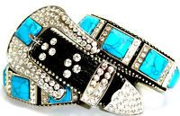 Western LEATHER Bling Belt Turquoise Stone Concho Rhinestone Rodeo Cowgirl XL