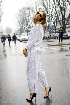 Milan Fashion Week 2013. Candela wearing Gucci and carrying Pucci!