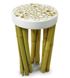 The Bamboo Cell mixes modern sensibilities of style and comfort with ethnic values like using bamboo. The stool is made with bamboo legs and a polyester resin seat, into which the legs have been set along with and a number of bamboo rings. Modernism and tradition in a heady cocktail!
