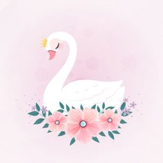 Cute Little Princess Swan With Flower Bouquet. - Cute little princess swan with flower bouquet. Watercolor Leaves, Floral Watercolor, Little Princess, Princess Room, Cute Drawings, Cute Animal Drawings, Diy Postcard, Pink And White Background, Baby Frame