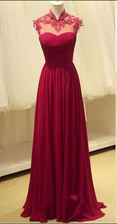 Lace High Neck Backless Sleeveless A-Line Prom Dresses,