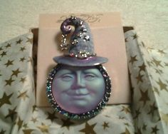 Kirks Folly Crystal Moon Face Brooch with Witch Like Hat | eBay