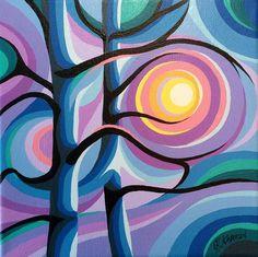 "Daily Paintworks - ""Trees in Sunset"" - Original Fine Art for Sale - © Christine Karron Futurism Art, Tree Artwork, Bear Art, Whimsical Art, Geometric Art, Art Sketchbook, Painting & Drawing, Fine Art America, Pop Art"
