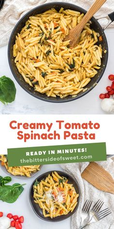 Creamy Tomato Spinach Pasta is what's for dinner tonight! It's full of fresh flavors, like tomato and spinach, and ready in minutes. | The Bitter Side of Sweet