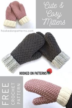 Cute & Cosy Free Crochet Mittens Pattern - Carola M. – Free Mittens crochet pattern from Ling Ryan at Hooked On Patterns – get started for winter and Christmas gifts! Crochet Mittens Pattern, Crochet Gratis, Crochet Gloves, Knitting Patterns, Crochet Unique, Cute Crochet, Knit Crochet, Crotchet, Crochet Dolls