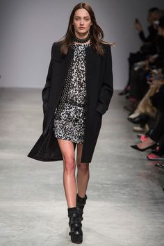 #F/W2013   I really like the print on this dress as well as the H-line silhouette and how its paired with the long coat and those shoes beautiful.