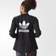ADIDAS TRACKT Brand new with tags. Size M. Has a drawcord inthe front hem. Fits loose crop front and long back perfect to use with leggings. Selling on Ⓜ️ for 40$. Any questions feel free to ask. NO TRADES! Adidas Jackets & Coats