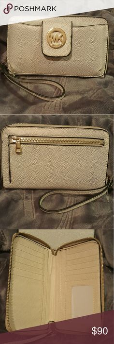 MK wallet Cream with sparkling Michael Kors wallet. Brand NEW never used Michael Kors Bags Wallets