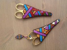 Stitched bead scissor cases