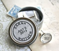 For the groom, groomsmen, fathers : Personalized cufflinks in matching postmark gift tin ; by CrowBiz $35.00