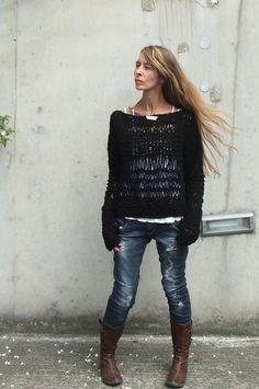 white sweater / ivory sweater / loose knit / Cotton by ileaiye