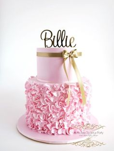 Pink Ruffle Cake with matching lace and pearl cupcakes