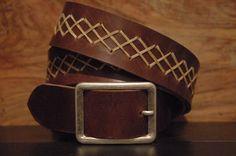 Brown Braid Leather Belt - Men Leather Belt - Leather belt braid snap on  -I…
