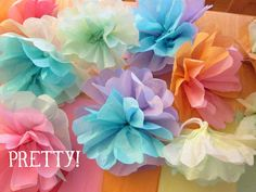 How to make tissue paper flowers without any special tools. I think I'm going to do this with my extra Victoria secret tissue paper :)