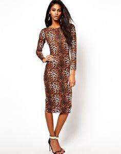 Image 4 of ASOS Midi Body-Conscious Dress In Leopard Print