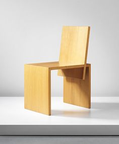 "Shigeru Uchida ""Okazaki"" chair, circa 1991  Oak.  30 1/4 x 15 x 19 1/2 in. (76.8 x 38.1 x 49.5 cm)  Manufactured by Pastoe, the Netherlands. From the production of 4."