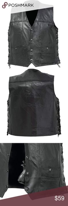 Rock Genuine Buffalo Leather Concealed Carry Vest Features black finish star snaps, lace-up sides, and 2 interior gun pockets with 1 interchangeable holster. Diamond Plate Jackets & Coats Vests