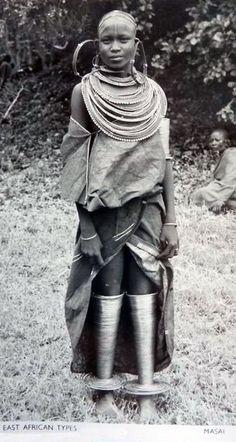 Africa   Masai Woman.  Kenya    Vintage Postcard; Pegas Studio.  No. 183 East African Types.