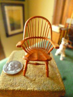 Exquisite dollhouse miniature hand carved wooden chair tiny 1:24 scale signed William Clinger