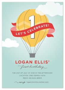 Brightside Prints Cards, Invitations, Announcements — Hot Air Balloon Party