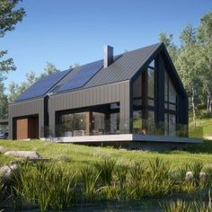Awesome Black House Exterior Design Ideas You Definitely Like - There's not at all like another lick of paint to make a house truly look incredible. Including a new coat and cleaning up the shades can take a long t. Modern Barn House, Barn House Plans, Modern House Design, Passive House Design, Barn Plans, Contemporary Design, Black House Exterior, Casas Containers, Modern Farmhouse Exterior