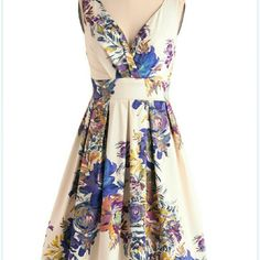 """Floral Palate Dress"" Excellent condition, worn only twice for bridal shower. Flattering length that hits at, or right above the knee. Elasticized back panel provides a little bit of stretch. Side zipper. ModCloth Dresses Midi"