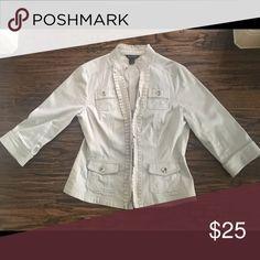 White House Black Market Jacket Hook and eye closure. 3/4 sleeve. White House Black Market Jackets & Coats