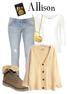 """Allison - Hocus Pocus"" by marybethschultz ❤ liked on Polyvore featuring Cheap Monday, Planet, Timberland, Alex Woo, skinny jeans, ripped jeans, chunky sweaters, long pendant necklaces and fold over boots"