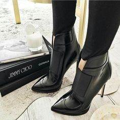 [SHOES | Oh, Jimmy Choo - I would let you design every shoe I wear! In love with these black, ankle stiletto boots.]
