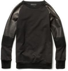 While he's no longer at the helm of his eponymous label, post-mortem designer Alexander McQueen's impression on the fashion world can still be felt. This Degrade Leather-Sleeve Cotton Sweatshirt is something he'd definitely be proud to call his own. Alexander Mcqueen, High Fashion, Mens Fashion, Guy Fashion, Spring Fashion, Mr Porter, Mens Sweatshirts, Swagg, Crew Neck Sweatshirt
