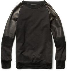 Alexander McQueen Degradé Leather Sleeved CottonSweatshirt