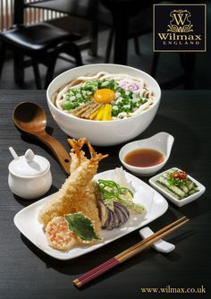 СULINARY TRAVELS WITH WILMAX. JAPAN. Udon noodles are very popular in Japan. Udon is usually served with hot broth, greens and vegetables. These noodles are best served in deep rounded bowls.   In WILMAX range you can find a wide selection of tableware for a traditional Japanese table setting.
