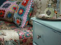 Make a patchwork throw & some assorted cushions for the lounge & armchairs.