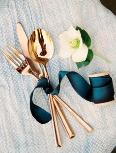 Good Rose Gold / Copper Ish Industrial Colour Cutlery. Also Love The Mallard /  Teal