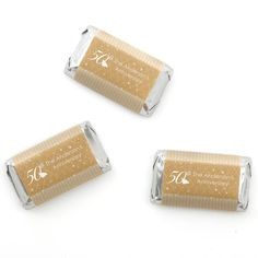 50th Anniversary Mini Candy Bar Wrappers - Personalized Anniversary Supplies - 20 Count