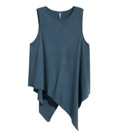 Sleeveless, draped top in jersey with an asymmetric, raw-edge hem.