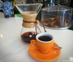 A cup of Chemex brewed coffee at True Artisan Cafe, a third wave coffee shop in Lima, Peru.#COFFE#