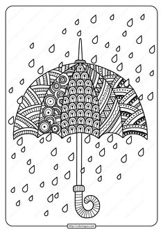 Printable Rain Drops with Umbrella Coloring Page. High quality free printable co. - Printable Rain Drops with Umbrella Coloring Page. Spring Coloring Pages, Mandala Coloring Pages, Coloring Book Pages, Doodle Art Designs, Doodle Patterns, Zentangle Patterns, Doodle Borders, Print Patterns, Doodle Art Drawing