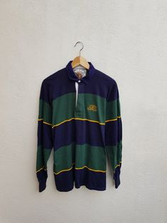 49aa4c2f36e Vintage 90s LONSDALE Embroidered Monogram Cross Color Stripes Casual Polos  Rugby Shirt Size L