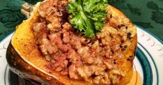 Stuffed Acorn Squash - Plant-Based, Vegan Recipe Acorn Squash In Oven, Acorn Squash Recipes, Squash Plant, Recipe Center, Dry Rice, Plant Based Nutrition, Vegan Vegetarian, Main Dishes, Vegan Recipes