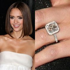 Jessica Alba's five-carat Asscher cut diamond from hubby Cash Warren is surrounded by smaller diamonds.Photo: Flynet Pictures