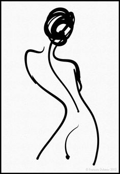 François Dubeau: title unknown [nude rear view woman], line drawing in ink on paper?