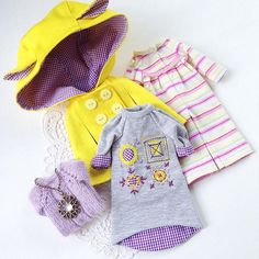 Комплект одежды для куклы #блайз. Сделано на заказ. #Blythe #blythedoll #blythedress #Blythestagram #dressforblythe #одеждадляблайз #одеждадлякукол #куклаблайз #трикотажноеплатье #декородежды #желтый